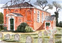 Watercolour of Maldon Meeting House and Burial ground